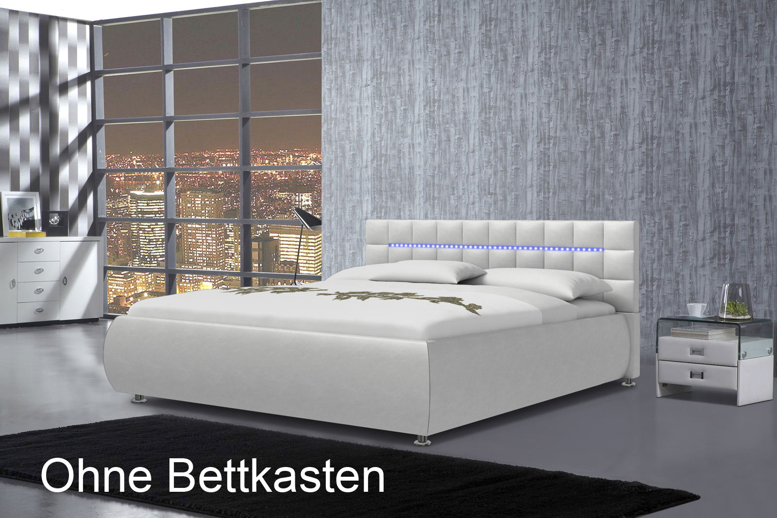 sam polsterbett 140 x 200 cm wei teramo 420 led auf lager. Black Bedroom Furniture Sets. Home Design Ideas