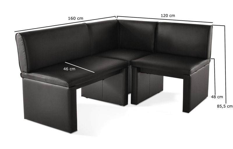 eckbank schwarz leder family ii wunschgr e x 120 cm flexibel sitzbank lager ebay. Black Bedroom Furniture Sets. Home Design Ideas