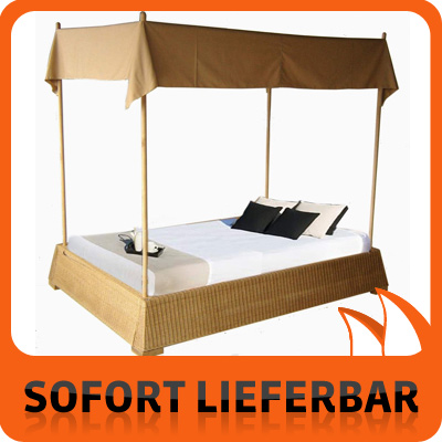 schlafzimmer rattan bett 160 x 200 cm himmelbett lucetta mit himmel ebay. Black Bedroom Furniture Sets. Home Design Ideas