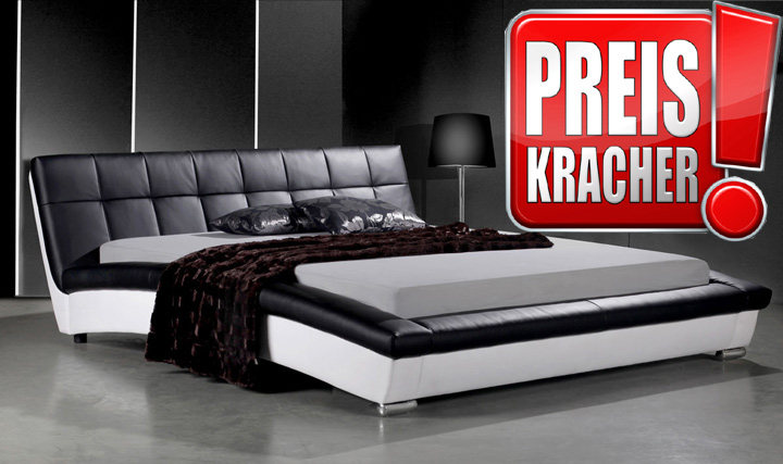 lederbett 180 cm schwarz weiss sam 578 absteppung neu ovp ebay. Black Bedroom Furniture Sets. Home Design Ideas