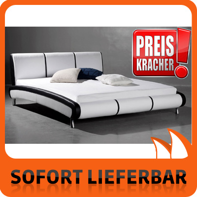 leder bett weiss schwarz 180 cm sam 546 schlafzimmer neu. Black Bedroom Furniture Sets. Home Design Ideas