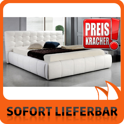 leder polster bett weiss 180 cm sam 770 absteppung neu ovp. Black Bedroom Furniture Sets. Home Design Ideas