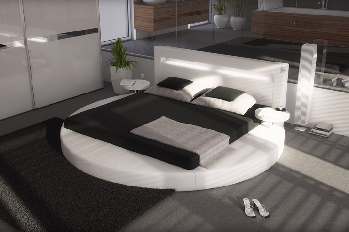 auswahl leder rund bett sanctuary 160 180 cm schwarz weiss ebay. Black Bedroom Furniture Sets. Home Design Ideas