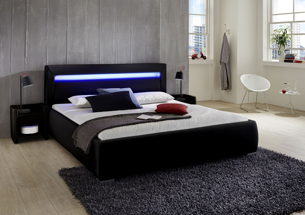 gio lederbett 160 x 200 cm farbauswahl lunia led. Black Bedroom Furniture Sets. Home Design Ideas